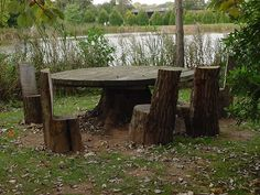 Chairs and table on the Giant's Island at Bodenham Arboretum.