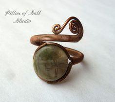Snakeskin Jasper Wire wrapped ring / boho jewelry / wire wrapped jewelry handmade / copper jewelry / wire jewelry / earthy grey green