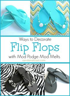Could These be any Cuter ? DIY:: Tutorial on ways to decorate Flip Flops. These Under two dollar a pair, were quickly transformed from into adorable :) !