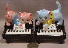 Vintage Cats Playing on Pianos s P Shakers
