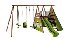 Aire de jeux en bois avec balançoire, vis-à-vis, siège bébé, toboggan, tipi - 3…