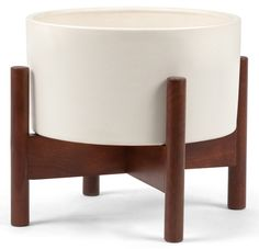 'Case Study Table Top Cylinder Planter with Wood Stand by Modernica. @2Modern'