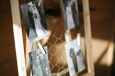 Old wedding photos displayed on a screen with chicken wire -- Diane+Mike Calgary photographers