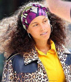Alicia Keys steps out in leopard print jacket and yellow dress Alicia Keys, Leopard Print Jacket, Toni Braxton, Celebs, Celebrities, Scarf Hairstyles, Yellow Dress, Wrap Style, Celebrity Style