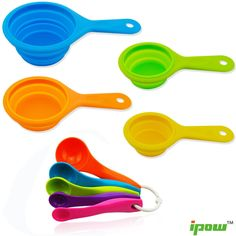 Ipow 9 PCS Collapsible Silicone Measuring Cups &Spoon Set to Measure Dry and Liquid Ingredients For Kitchen Cooking Baking