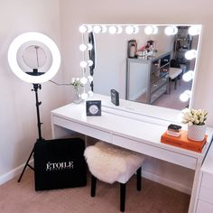 Vanity Overview Introducing Etoile Collective's ultimate lighting glow kit for the glow-getters amon Makeup Room Decor, Makeup Rooms, Ikea Makeup, Diy Makeup, Room Ideas Bedroom, Bedroom Decor, Hollywood Bedroom, Hollywood Vanity Mirror, Hollywood Mirror With Lights