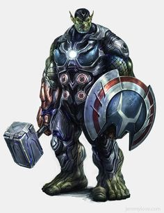 AVENGERS Cancelled Video Game Concept Art - News - GeekTyrant....I honestly didn't click through, but I know I wouldn't play the game. There's no way a Skrull, having apparently killed or incapacitated Iron Man and Captain America would be worthy to wield Mjolnir.