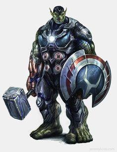 De nuevo el videojuego cancelado de los vengadores, la mas rara que he visto, un Skrull con un martillo a lo Thor y un escudo a lo Capi O.o'