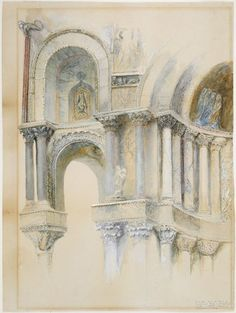 Part of a Sketch of the Northwest Porch of St. Mark's | Harvard Art Museums