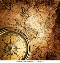 stock photo : old compass and rope on vintage map 1746