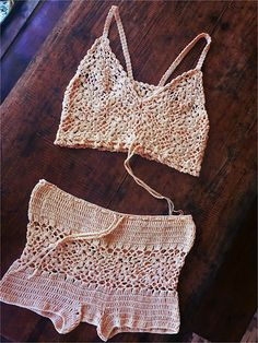 Crochetology exercise – given the square motif and trim below, make an article of clothing. My project is a pair of boyshorts and a bra top to be used for swimming.