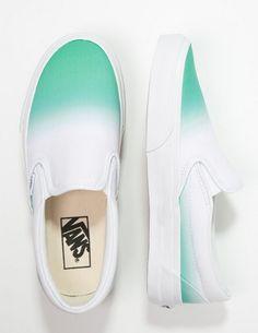 Vans CLASSIC Półbuty wsuwane slip-on zielono-białe mint/true white