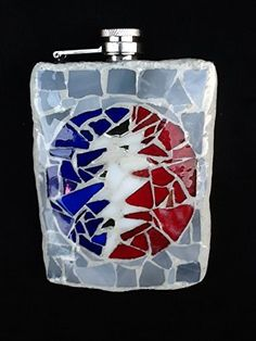 Grateful Dead Stained Glass Mosaic 8 OZ Flask, One of a kind