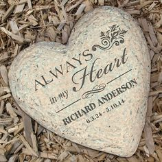 Personalized Memorial Heart Garden Stone. Why send flowers when you can give an engraved memory stone? Every time they visit their garden they will remember their loved one. FREE engraving. #funeralgift, #memorialstone, #memorystone, #gardenmemorialstone,