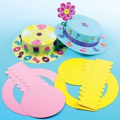 Coloured Easter Bonnet Kits for Kid' Easter Party Crafts (Pack of Easter Bonnets For Boys, Easter Crafts, Crafts For Kids, Theme Carnaval, Easter Hat Parade, Spring Hats, Hat Crafts, Diy Ostern, Paper Plate Crafts