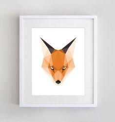 Polygon Fox Geometric Fox Head Geometric by SunberryGraphics