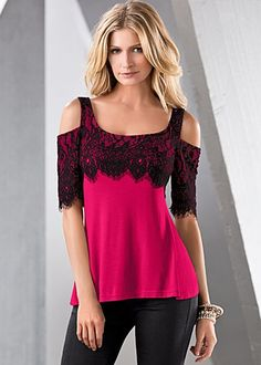 Red Lace Cold Shoulder Top Love this for just a casual night out.