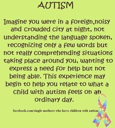 This perfectly describes what a student with autism would feel in a normal classroom.