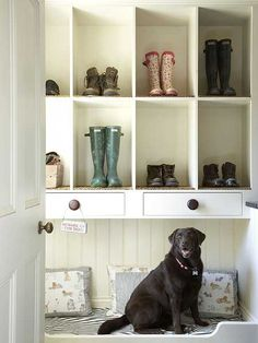 """What a great idea in the entryway!  Get the boots and 'junk' off the floor to make room for """"more important things"""" ~ like the family pet!"""