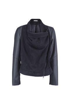 PU Panelled Black Peach Skin Coat via Romwe
