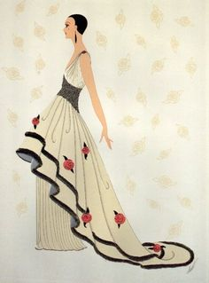 See how Erte (a. Romain de Tirtoff) helped define the aesthetic of the Art Deco movement through jewelry, fashion illustrations, costume and set design. Art Deco Illustration, Dress Illustration, Art Nouveau, Art Deco Period, Art Deco Era, Moda Art Deco, Erte Art, Romain De Tirtoff, Rose Gown