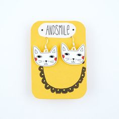 Dangle+Kitty+Earrings+by+andsmile+on+Etsy,+£12.00