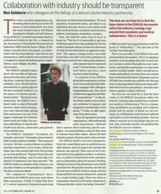 Collaboration with Industry should be Transparent Ben Goldacre BMJ, 12 Oct Vol 347 Dementia, I Laughed, Collaboration, Science, Education, Organization, Onderwijs, Learning