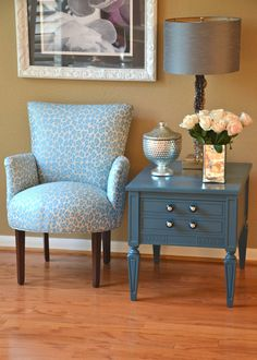 beige rooms with aqua accents | Hollywood Regency Accent Chair Upholstered in Aqua Animal Print