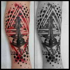 The black and red tattoo with a chess piece on the calf