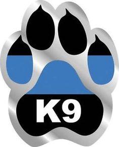 "Police K9 Paw K-9 Dog Unit Thin Blue Line Vinyl Sticker Decal SET 3"""