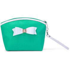 SheIn(sheinside) Bow Zipper Pouch With Wristlet ($6) ❤ liked on Polyvore featuring bags, handbags, clutches, green, wristlet purse, bow handbags, green purses, green wristlet and bow purse