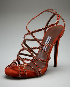 Tabitha Simmons Studded Suede Strappy Sandal in Red (coral) - Lyst
