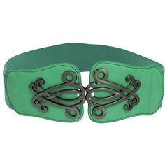 Leather belt, also comes in tan and dark brown, but the green is really cool