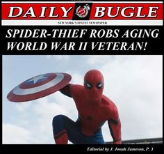 """J. Jonah Jameson, I swear you could turn Spidey helping an old lady across the street into a bad headline - """"Spiderman mugs elderly lady, forces her into traffic"""". (Of course, according to the trailer, Spidey, *did* take Steve's shield...) <<< best. Comment. Ever."""