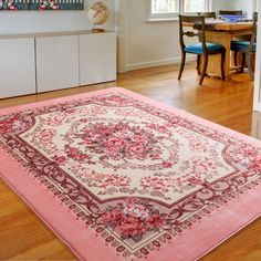 Romantic European Style Floral Pink Area Rugs for Living Room,Wedding Room/Bedroom Tea Table Footmats,94X79Inch