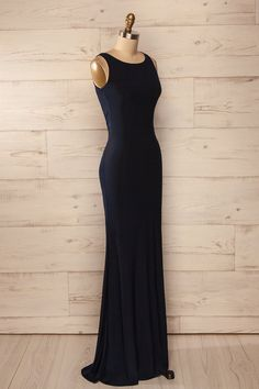 e193c95be058 Avigliano - Navy ruched back maxi fitted dress Mariage