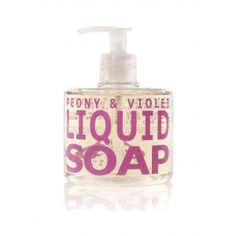 A blend of peony, violet, and white flowers compose this liquid soap.