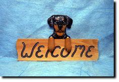 Doberman Natural Welcome Sign