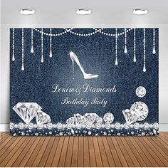 Mehofoto Denim and Diamonds Birthday Party Backdrop High Heel Birthday Background Vinyl Birthday Party Banner Supplies Event Decoration Diamond Theme, Diamond Party, 50th Birthday Party Decorations, Birthday Parties, Blue Birthday, 40th Birthday, Forty Birthday, Diamonds And Denim Party, Party Kulissen