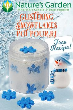 Glistening Snowflakes Potpourri recipe is available from Natures Garden Candle Making Supplies. Learn how to make homemade scented wax potpourri. Homemade Candles, Diy Candles, Fun Crafts, Crafts For Kids, Potpourri Recipes, Garden Candles, Candle Making Supplies, Scented Wax, Winter Holiday