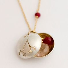 Branch Locket with Rose Quartz and Ruby by BrittaJewelry on Etsy, $98.00