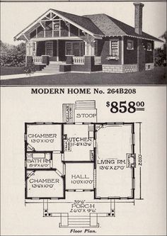 Sears, Roebuck Bungalow House Plan - Modern Home No. - Hipped Roof Craftsman-style Add that porch part where our front door/windows are Small Bungalow, Bungalow House Plans, Craftsman House Plans, Small House Plans, House Floor Plans, Craftsman Style Homes, Craftsman Bungalows, Sears Catalog Homes, Flat Pack Homes