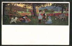 Alte Ansichtskarte: Künstler-AK Gertrud Caspari: Herbstfreude, spielende Kinder, Hund, Ziege