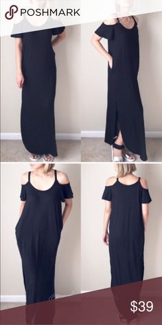 "Cold shoulder maxi dress with side split. Trendy maxi dress. Full lengthy, with split open side. More..side pockets! Made with soft knot non sheer fabric. Length 56"" long. 95%rayon 5%spandex. MADE IN USA. NO TRADE. Also comes in gray and navy. Limited! CHICBOMB Dresses Maxi"