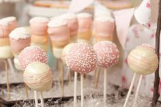 cake balls on a stick. . . make the cake out of strawberry cake mix. YUM!