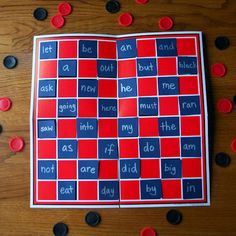 WORD CHECKERS -- great idea for learning sight words or high frequency words