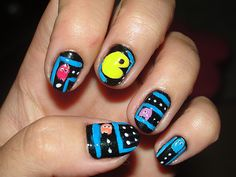 Easy Nail Designs for Short Nails [pac-man Cool Easy Nail Designs, Cool Easy Nails, Short Nail Designs, Easy Nail Art, Simple Nails, Cute Nails, Pretty Nails, Fingernail Designs, Toe Nail Designs