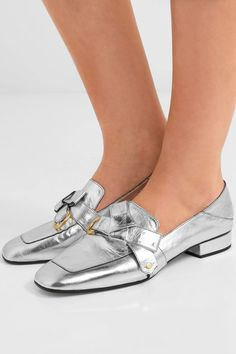 ec18c0d825d206 Chloé - Quincey collapsible-heel metallic leather loafers