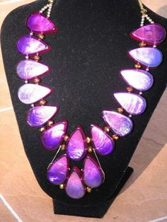 Renata statement necklace by Church of Adornment. Resin beads and crystal.
