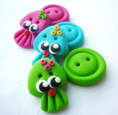 Jellyfish shaped buttons handmade with polymer clay on Etsy, $8.00